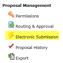 Proposal management menu