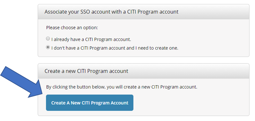 Create a new CITI Program account prompt