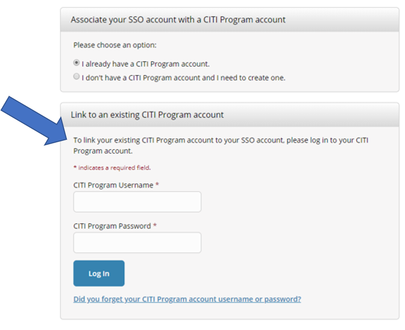 Link to an existing CITI Program account