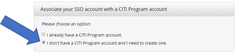 Associate your SSO account with a CITI Program account
