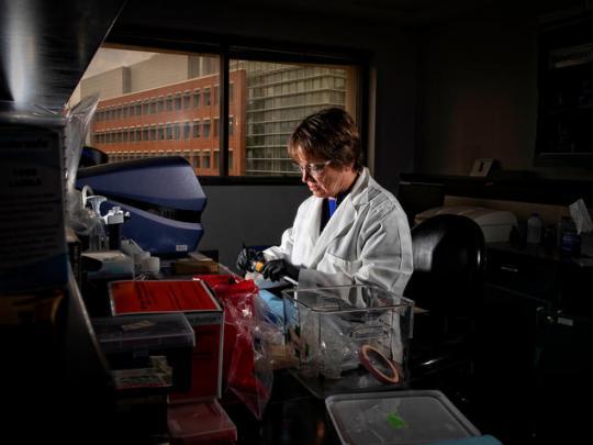 Photo of Linda J. Van Eldik in lab